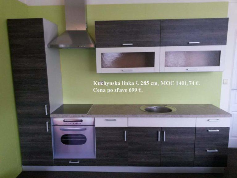 Kuchynská linka (š. 285 cm) - MOC 1401,74 EUR. Cena po zľave 699 EUR
