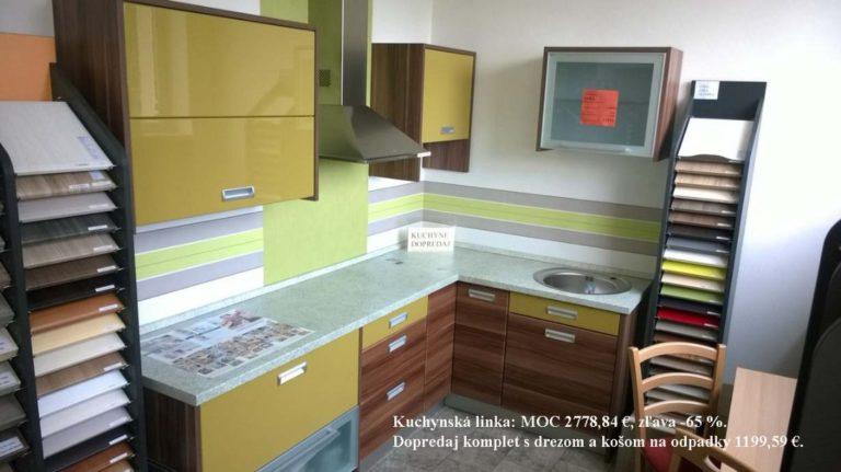 Kuchynská linka - MOC 2778,84 EUR. Zľava -65%. Dopredaj komplet s drezom a košom na odpadky 1199,59 EUR