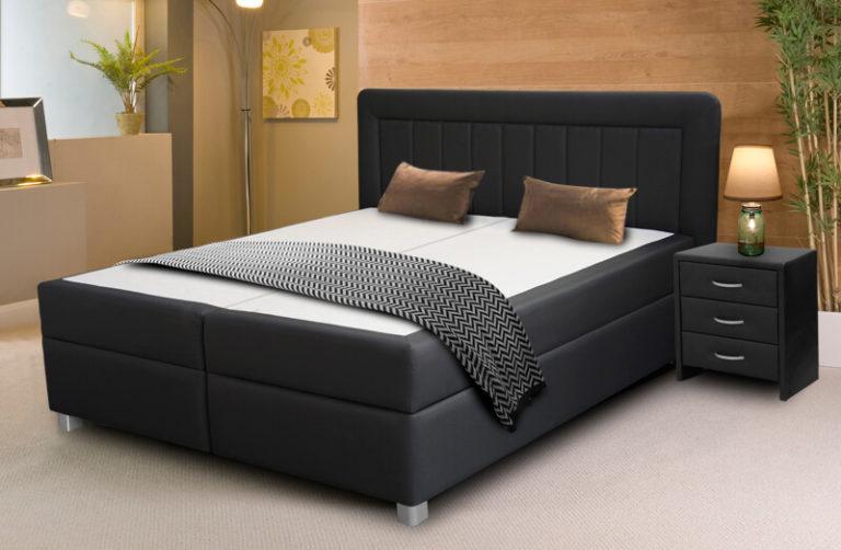 Manželská celočalúnená posteľ boxspring s úložným priestorom, pružinové jádro