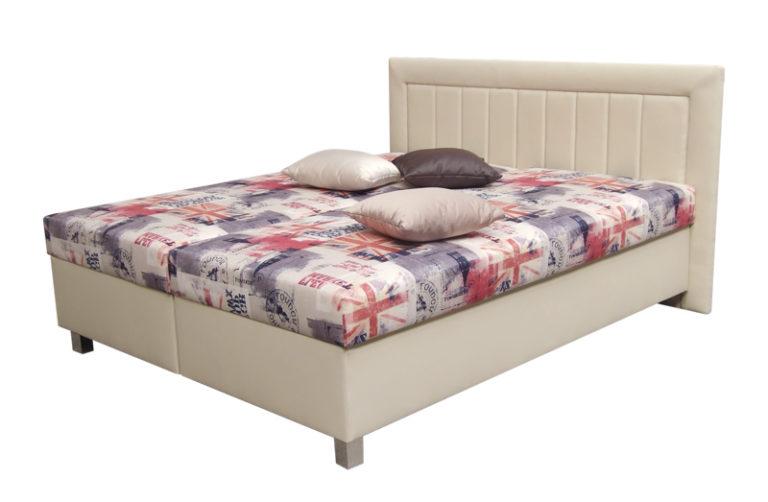 Manželská celočalúnená posteľ s úložným priestorom a matracmi